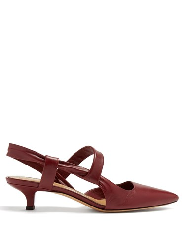 The Row Coco Twist Slingback Leather Pumps Burgundy pDV3syNv
