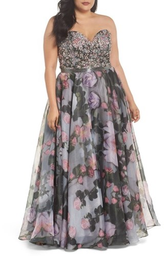 Mac Duggal Plus Size Women's Embellished Flora Strapless Sweetheart Gown Waterlily V6fiqt