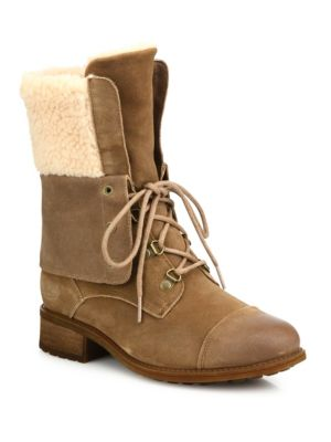 UGG Gradin Suede Lace Up Boots Dark Chestnut 0Wg0rCn