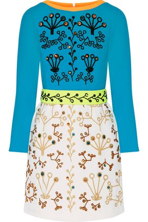 Peter Pilotto Crystal Embellished Embroidered Wool Crepe Mini Dress Multicolor MfVpkq58m