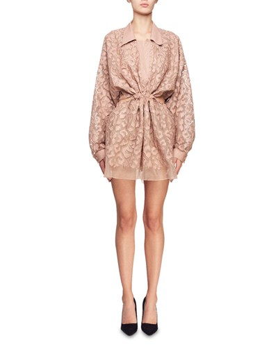 Stella McCartney Drawstring Waist Long Sleeve Burnout Mini Dress Pink HuPADDfu4