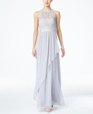 Adrianna Papell Lace Illusion Halter Gown Silver QPGfA6KR