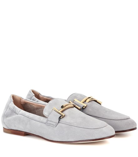 Tod's Double T Suede Loafers Grey FKBFph1F