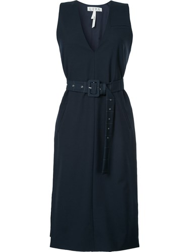 Liya V Neck Mid Length Dress Wool Blue QtsS9UTS