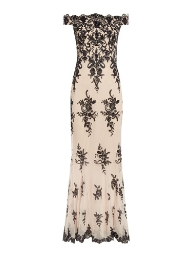 Jessica Wright Off Shoulder Lace Detail Gown Nude k1G7wLOMjL