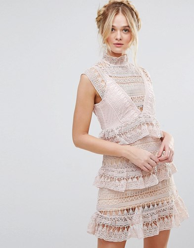 RD & Koko High Neck Lace Tiered Dress Pink r8F8e9Q9ws