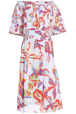 Peter Pilotto Printed Off The Shoulder Cotton Midi Dress White UwHctkj