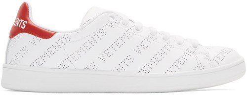 Vetements White And Red Perforated Logo Sneakers uk3KIWVc