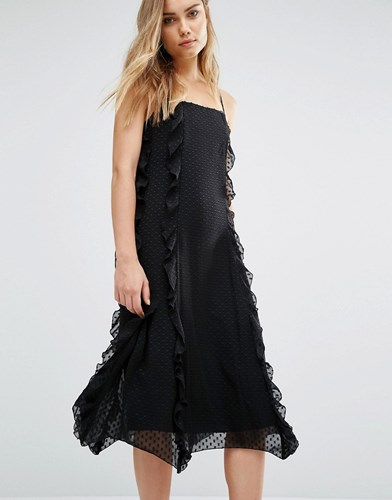 Warehouse Strappy Frill Dress Black kmwFwrEq