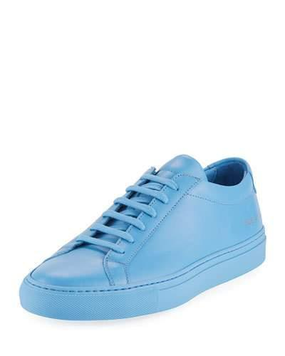 Common Projects Men's Achilles Leather Low Top Sneaker Blue YNosuey