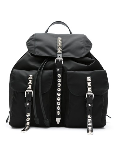 Prada Studded Backpack Black ra5KRZ
