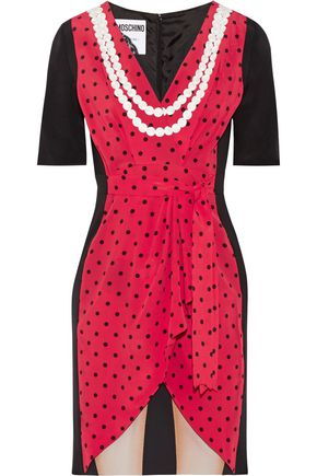 Moschino Lace Trimmed Printed Silk Crepe De Chine Mini Dress Red AHUSOQR6eo