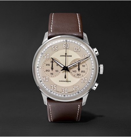 Meister Driver Chronoscope Stainless Steel And Leather Watch Brown