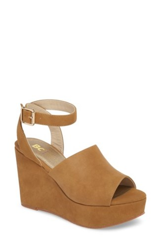 BC Footwear Admit One Platform Wedge Sandal Tan Faux Nubuck dv56TAiK
