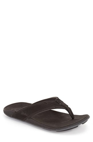 OluKai Men's 'Nui' Leather Flip Flop Onyx Onyx JaKLYI77