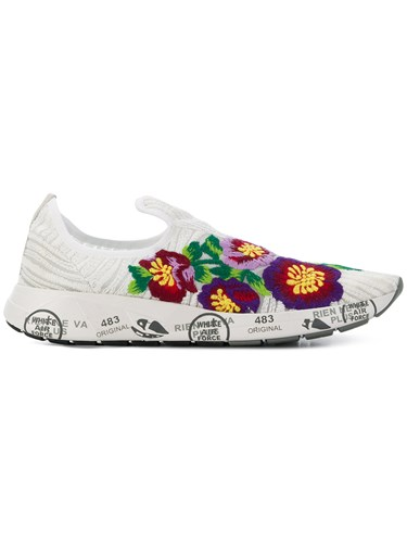 Premiata Floral Embroidered Sneakers White DrGwQSIUSy