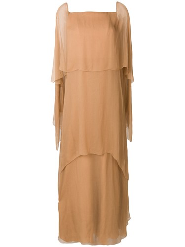 Alberta Ferretti Layered Evening Dress With Asymmetrical Sleeves Nude And Neutrals r9KCdRPT