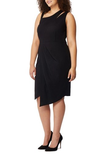 REBEL WILSON X ANGELS Plus Size Women's Asymmetrical Cutout Sheath Dress Black Gq7M5md