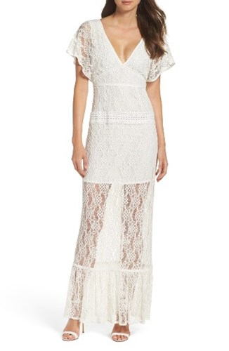 Foxiedox Women's Cecilia Lace Sheath Gown White GOlnu
