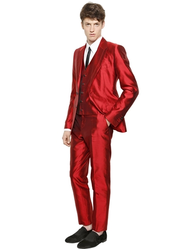 Dolce & Gabbana Silk Shantung 3 Piece Suit Red | Nuji