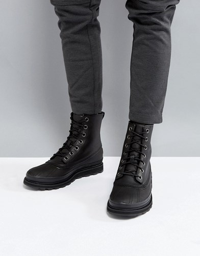 Sorel Madson Waterproof Leather Boots In Black Black BcUFbTua