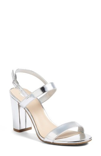 b1b791b44db BP Women s Bp. Lula Block Heel Slingback Sandal Silver Faux Leather ...