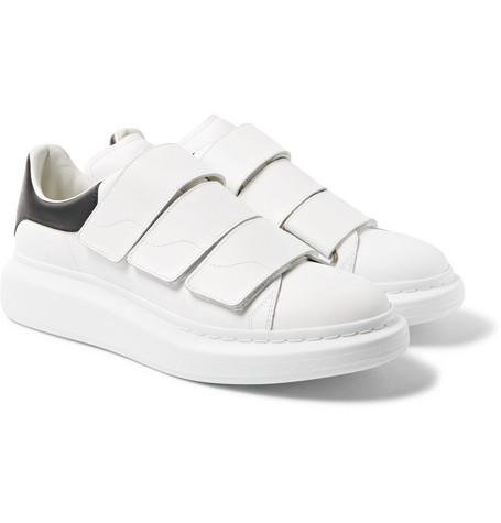 Alexander McQueen Exaggerated Sole Leather Sneakers White r6t1L