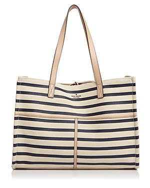 Kate Spade New York Washington Square Mega Sam Canvas Tote Navy Blue Stripe Multi Gold VSauL2