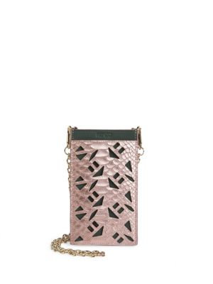 Kenzo Python Leather Cutout Pouch Flamingo Pink 5PtHtqZ6