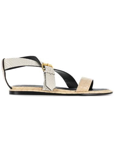 Stella McCartney Python Embossed Crossover Sandals Nude And Neutrals VhCh2pe