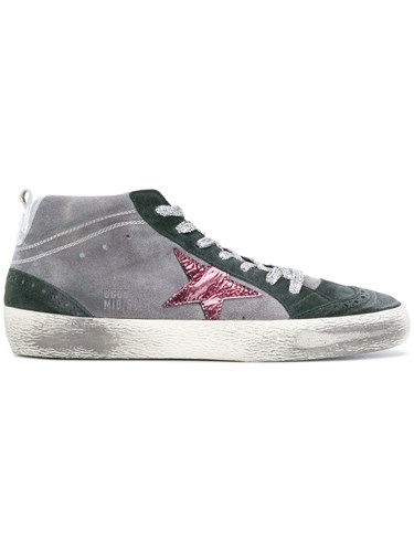 Golden Goose Deluxe Brand Super Star Mid Topped Distressed Sneakers Grey gkQLUStDx