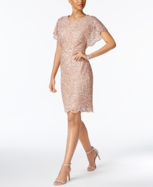 Adrianna Papell Petite Beaded Sequined Dress Rose Gold 5nm3W