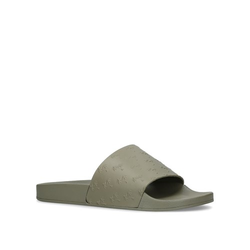 Kurt Geiger London Waikato Palm Sliders Khaki 53W1dc
