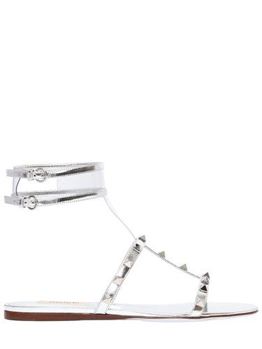 Valentino 10Mm Moonwalk Plexi And Leather Sandals Silver 53ZQqjjDX