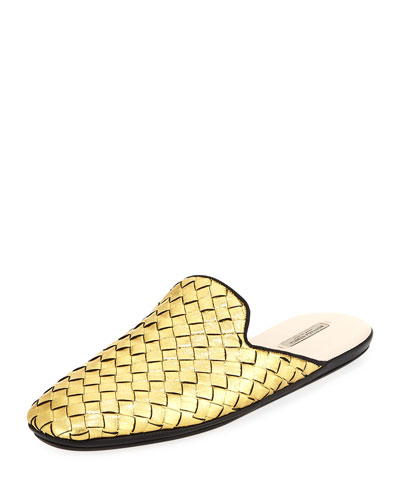 Mule Bottega Intrecciato Veneta Leather Gold Metallic I1BP1q