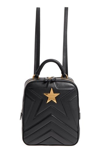 Stella McCartney Small Quilted Faux Leather Convertible Backpack Black QtBTD7