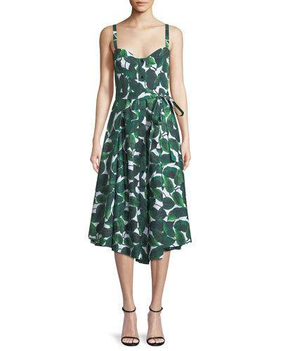 Milly Banana Leaf Print Poplin Bustier Dress Emerald 4QRivfQyDw