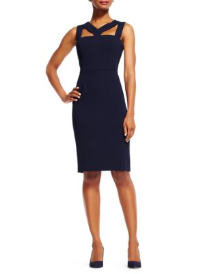 Adrianna Papell Cut Out Power Sheath Dress Navy R80vR8