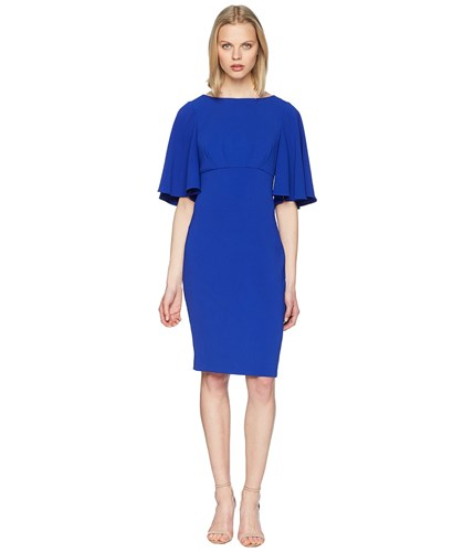 Badgley Mischka Bell Sleeve Day To Evening Dress In Stretch Crepe Electric Blue zwLZx