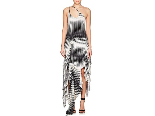 J.W.Anderson Striped Jersey Asymmetric Dress Off White WNBZHCnkRM