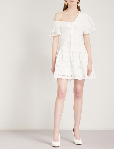 Self-Portrait One Shoulder Broderie Anglaise Dress White nHUEV