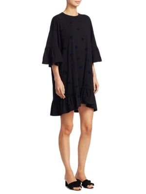 McQ by Alexander McQueen Swallow Loose Ruffle Cotton T Shirt Dress Black mO2sym09i