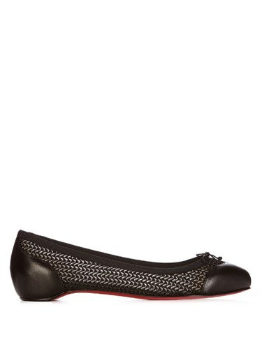 Christian Louboutin Miss Mix Mesh And Leather Flats Black 8QVg7pDmF