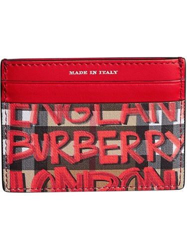 Red Graffiti Case Card Leather Vintage Print Burberry Check 0fFzgFx