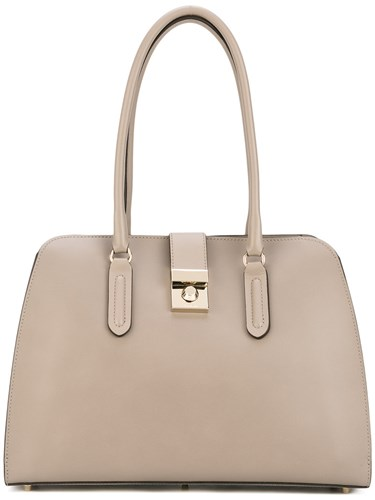 Furla Clasp Fastening Tote Women Leather One Size Grey bJlca