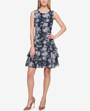 Tommy Hilfiger Ruffled Fit And Flare Dress Navy White phvpGpHY2