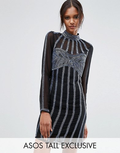 Tall Asos Mini Dress Embellished Multi Sequin Linear RqzUqxnda
