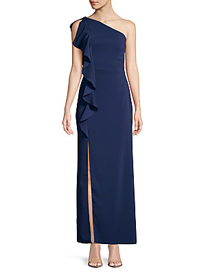Laundry by Shelli Segal Ruffled One Shoulder Gown Midnight GpTCF3A