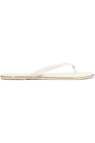 TKEES Lily Patent Leather Flip Flops White glyglm
