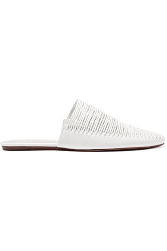 Sienna Woven Leather Slippers White Gbp